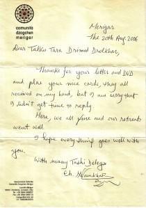 Dharma letter from Chögyal Namkhai Norbu Rinpoche, Merigar Dzogchen Community, Italy, 2006