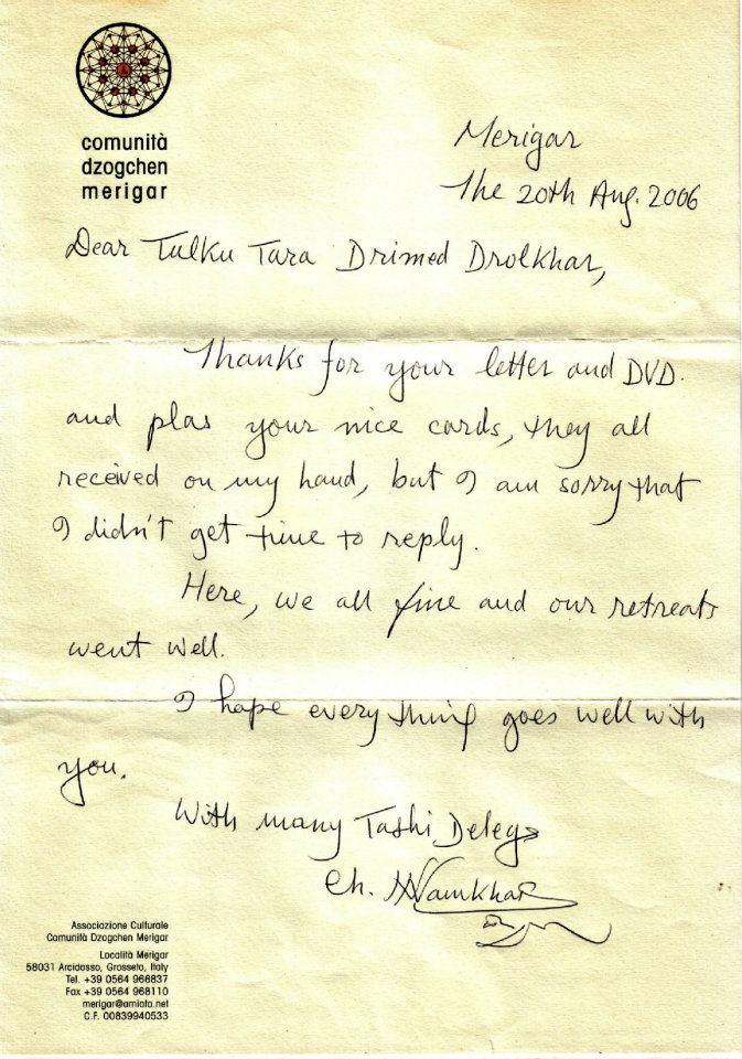 Dharma letter from Chögyal Namkhai Norbu Rinpoche