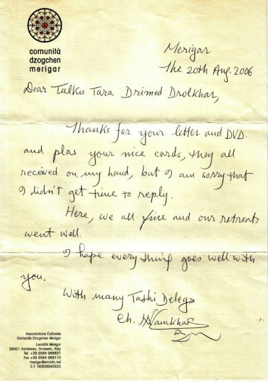 Dharma letter from Chögyal Namkhai Norbu Rinpoche