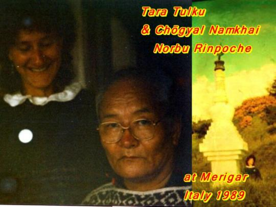 With Namkhai Norbu Rinpoche in Merigar June 1989