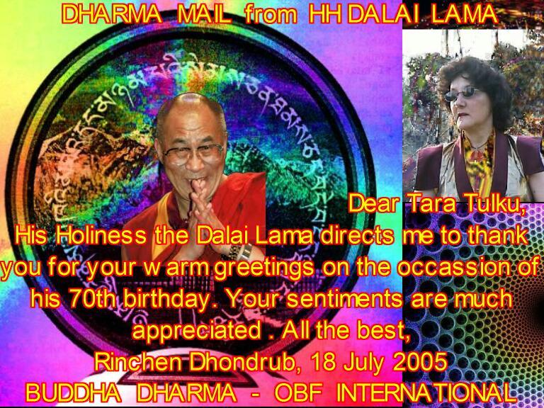 HH Dalai Lama 70 Birthday mail to Tara Tulku