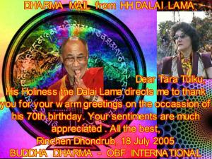 HH Dalai Lama 70 Birthday mail to Tara Tulku