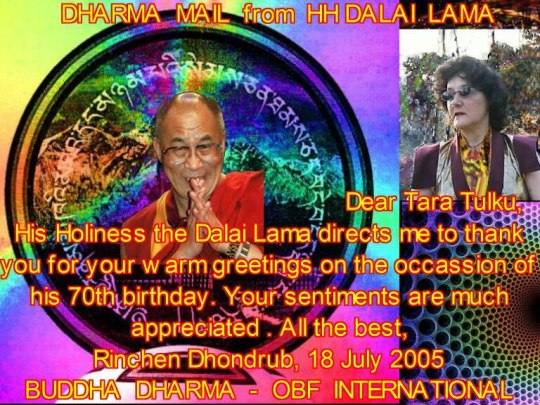 Dharma mail from 14th Dalai Lama to Tara Tulku